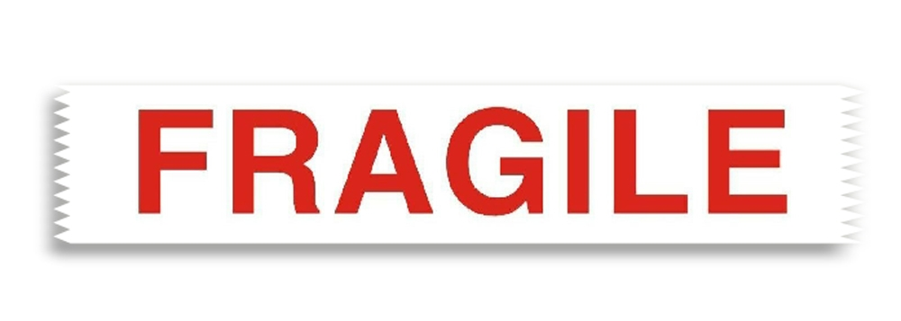 50mm X 66M Printed tape with the word 'FRAGILE'