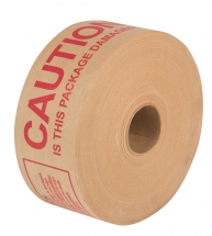 70mm X 150M Reinforced Gummed Paper Tape Printed 'CAUTION IS THIS PACKAGE DAMAGED' in Red