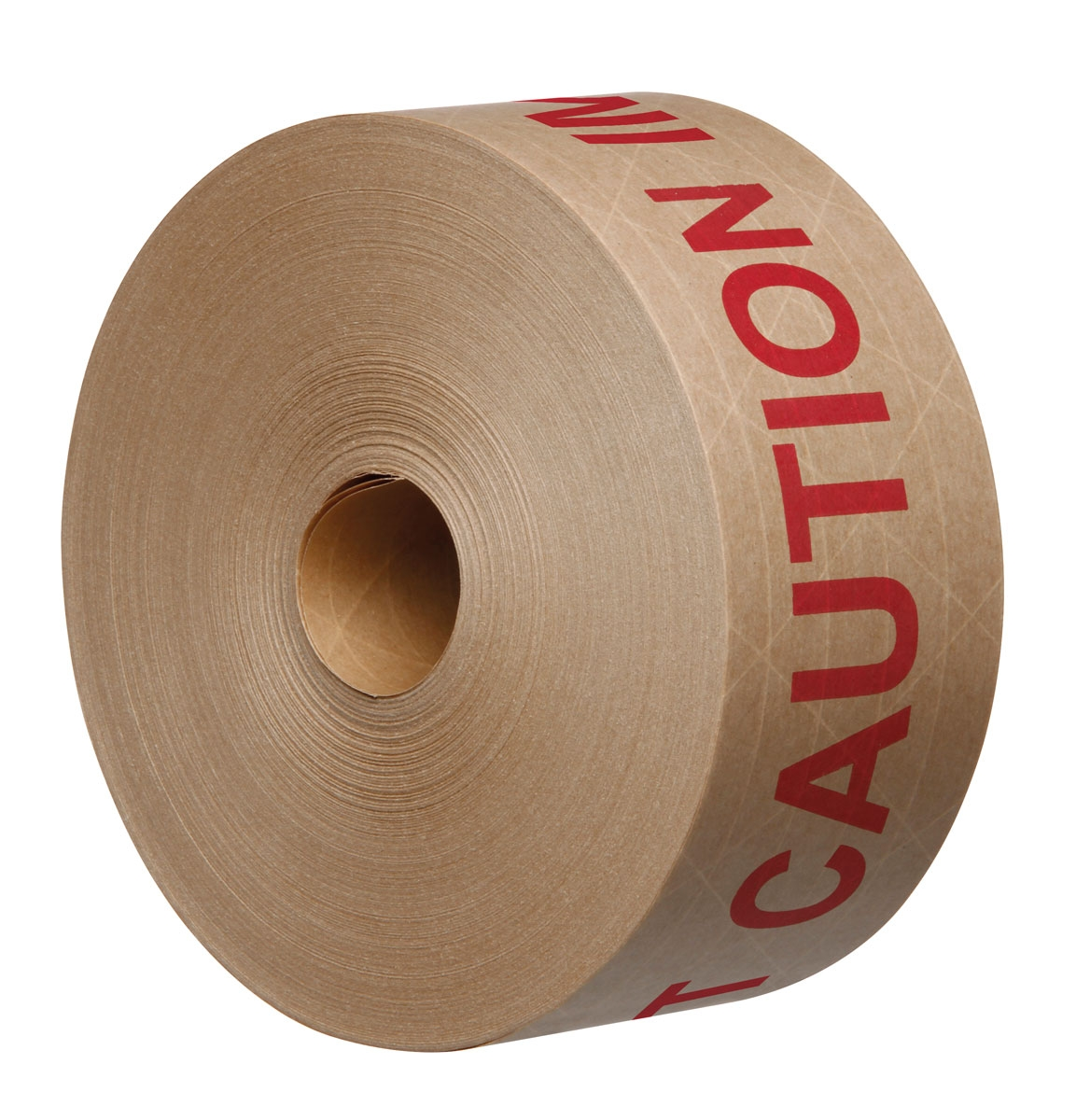 70mm X 150M Reinforced Gummed Paper Tape Printed 'IMPORTANT CAUTION' in Red