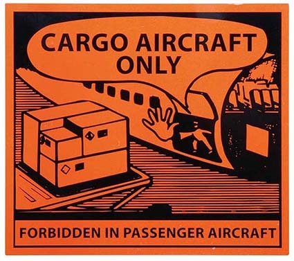 125 X 110MM CARGO AIRCRAFT ONLY HAZARD LABELS - 250 labels per roll