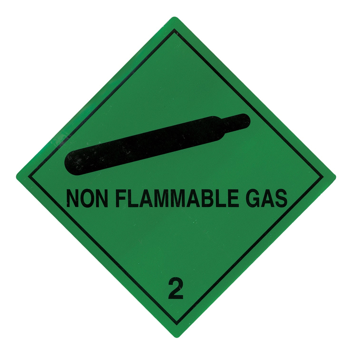 100mm X 100mm NON FLAMMABLE GAS HAZARD LABELS - 25O PER ROLL