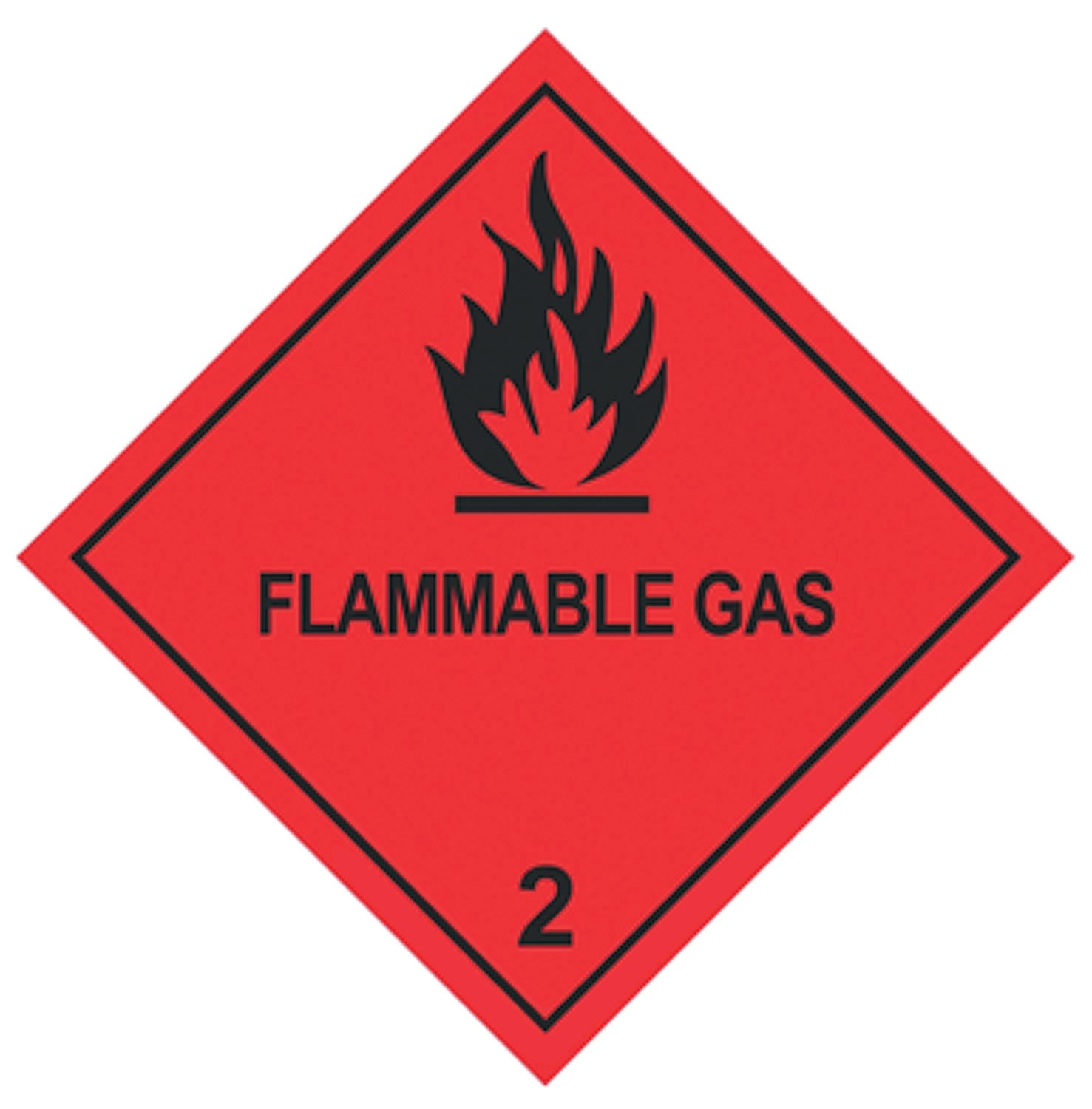 100 X 100MM FLAMMABLE GAS NO 2 LABELS - 250 labels per roll