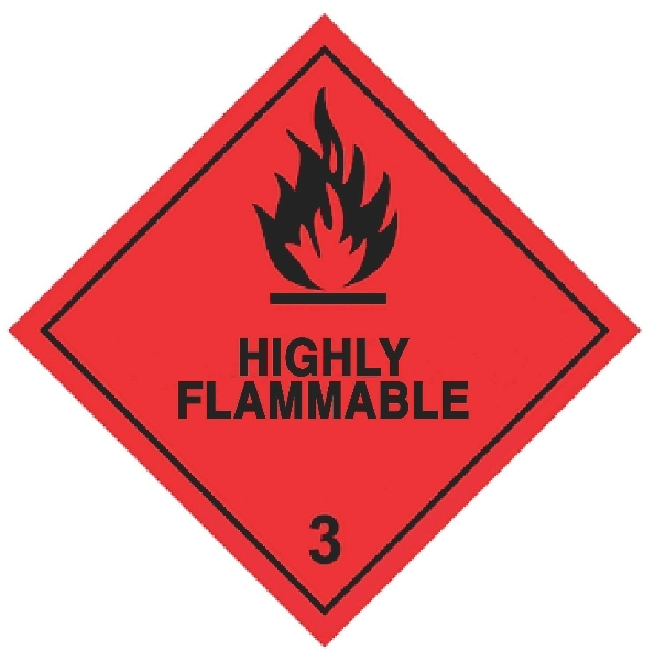 100 X 100MM HIGH FLAMMABLE HAZRAD LABELS - 250 PER ROLL