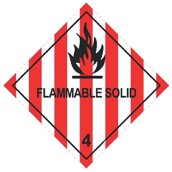 100 X 100MM FLAMMABLE SOLID HAZARD LABELS - 250 PER ROLL