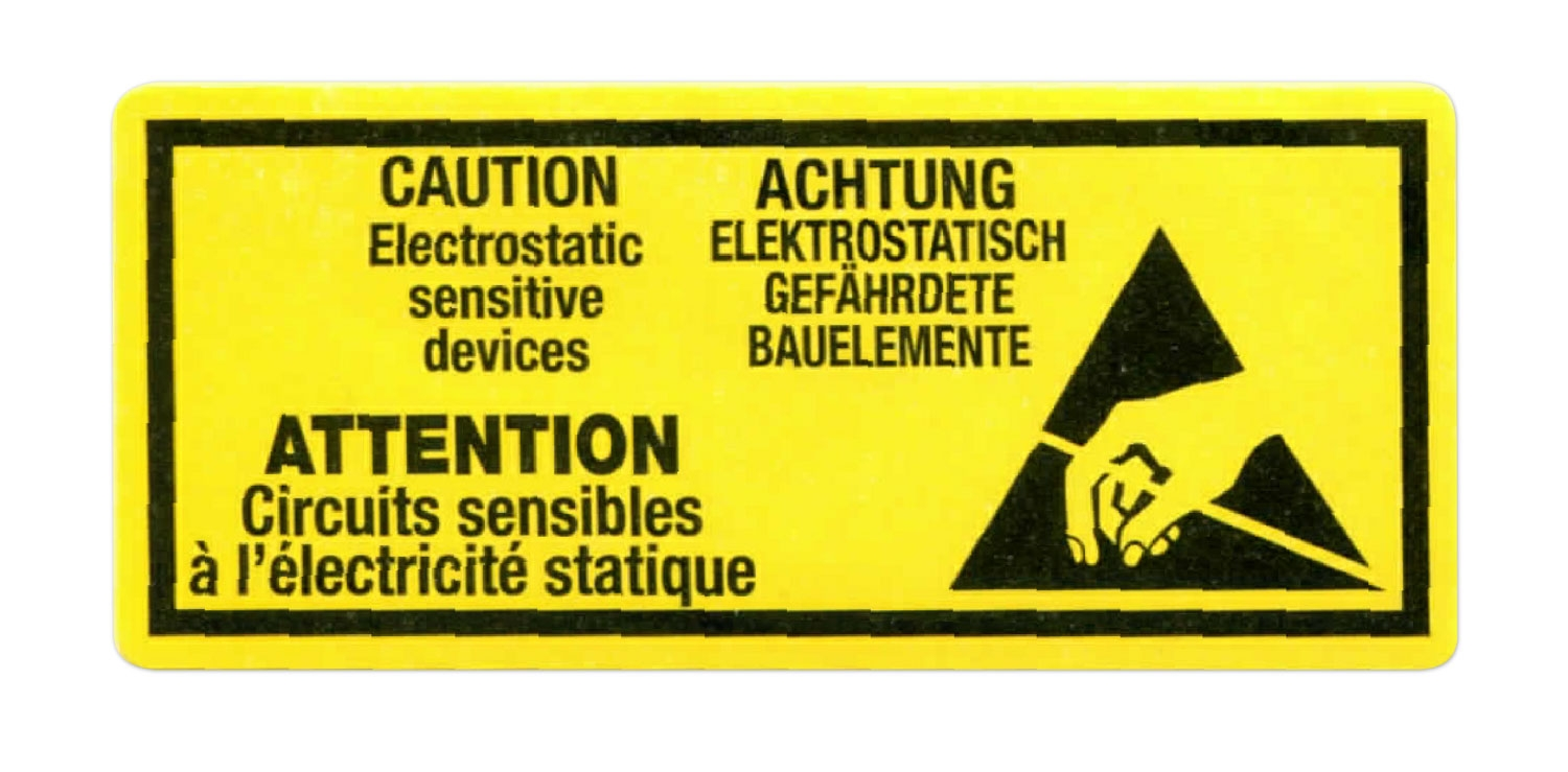 80mm X 35mm Yellow Labels Print 'Caution Electrostatic'